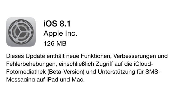 iOS 8.1download für das iPhone 4S